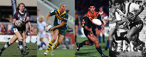 Composite picture of Karyn Murphy and Mal Meninga each playing for Souths and Australia.